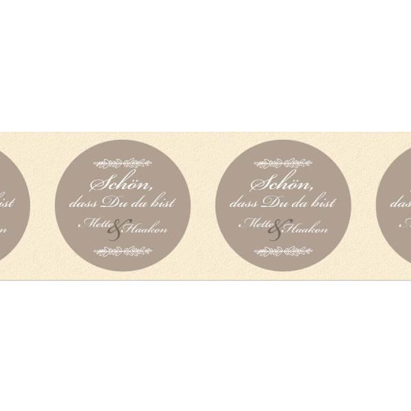 originelle runde Etiketten Hochzeit Gastgeschenk drucken