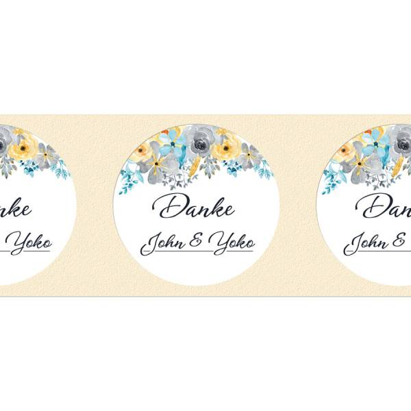 Etiketten rund Hochzeit Gastgeschenk Blumen drucken