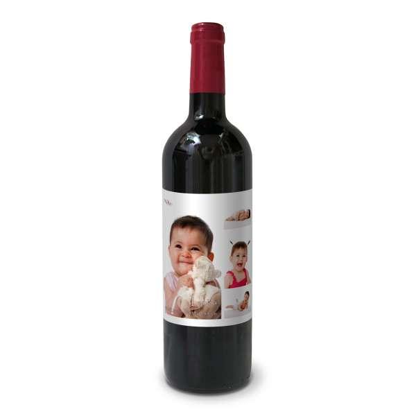 Bedruckte Flaschenetiketten zur Taufe mit Foto