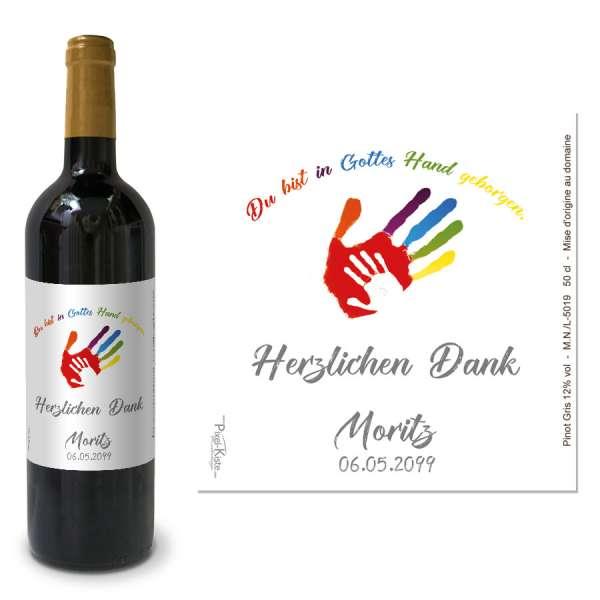 """Flaschenetiketten Erstkommunion """"Gottes Hand"""""""
