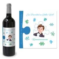 """personalisiertes Flaschenetikett """"Ein Puzzleteil in Gottes Welt"""""""