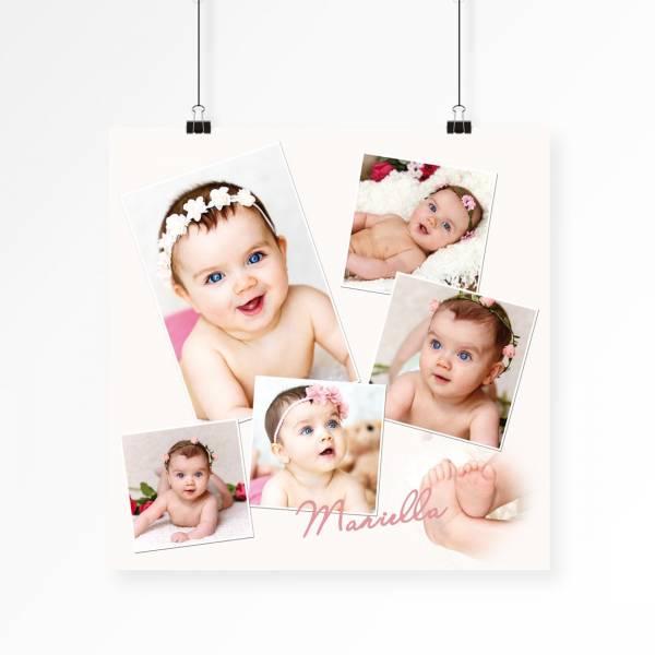 Poster mit Babyfoto-Collage quadratisch