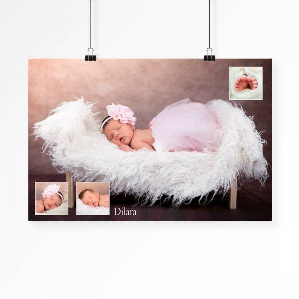 Poster mit Babyfotos als Collage