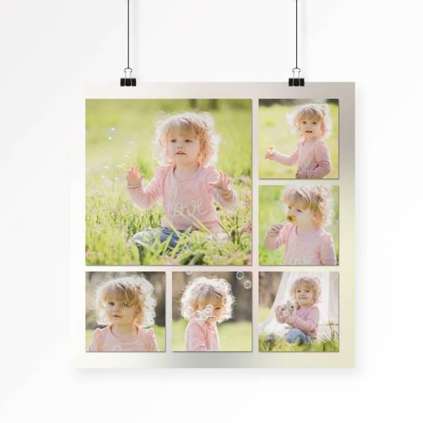 quadratisches Poster mit Collage aus Babyfotos