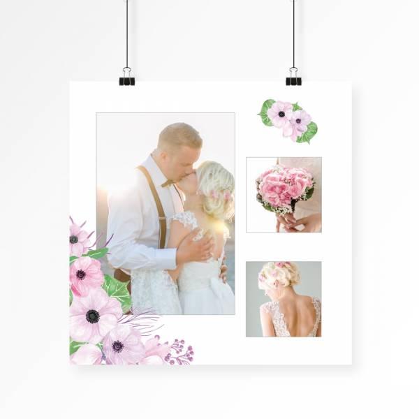 Hochzeitscollage als Poster