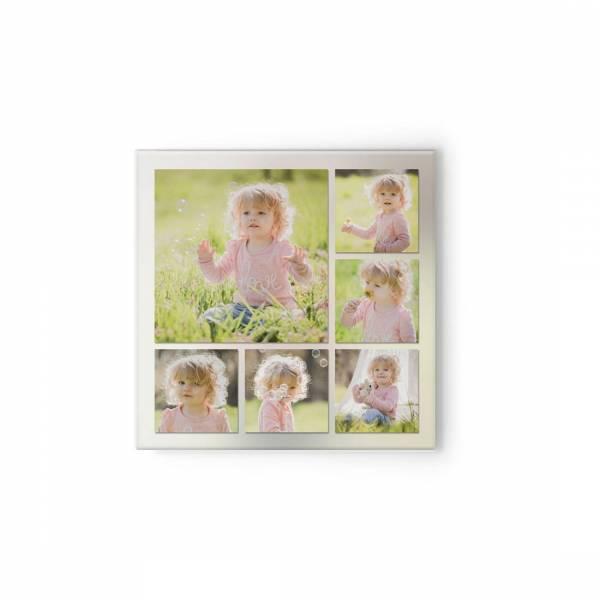 quadratische Leinwand mit Babyfotos