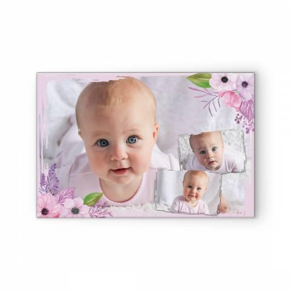 Fotoleinwand Collage Baby Blautönen Blüten