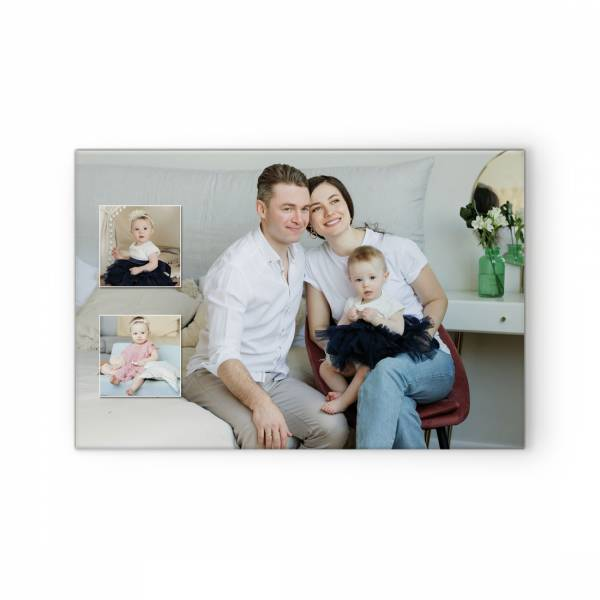 Fotocollage mit Familienfotos auf Leinwand