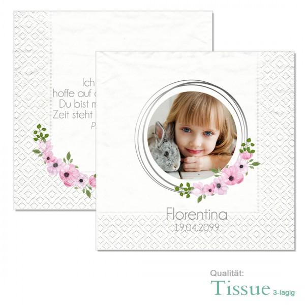 Fotoservietten mit Blumen zur Kommunion und Konfirmation
