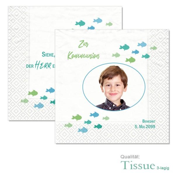 """originelle Servietten zur Erstkommunion """"kleine Fische"""" blau"""
