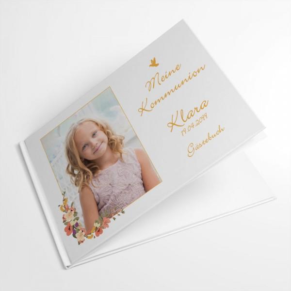 Gästebuch Konfirmation Erstkommunion Jugendweihe mit Blüten drucken lassen