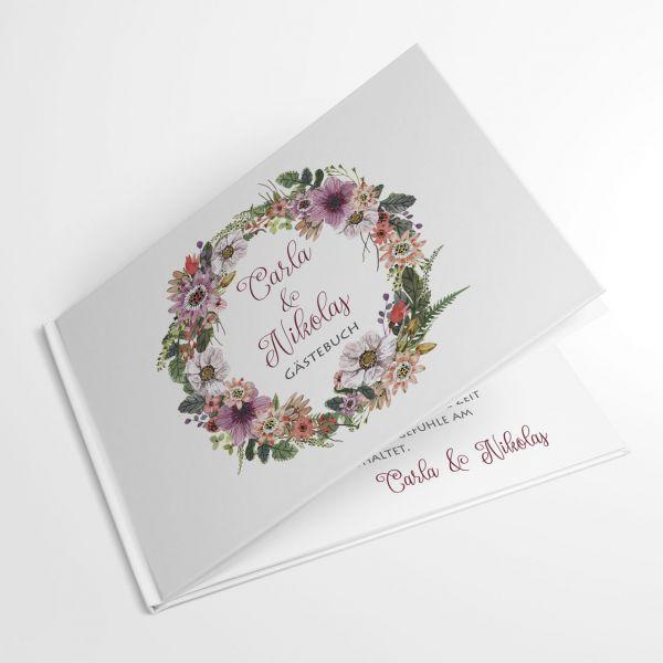 Gästebuch zur Hochzeit mit Blüten individuell drucken lassen