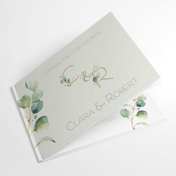 Gästebuch Hochzeit Eukalyptus grün  individuell gestalten lassen