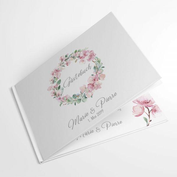 Gästebuch zur Hochzeit mit Kirschblüten Eukalyptus individuell