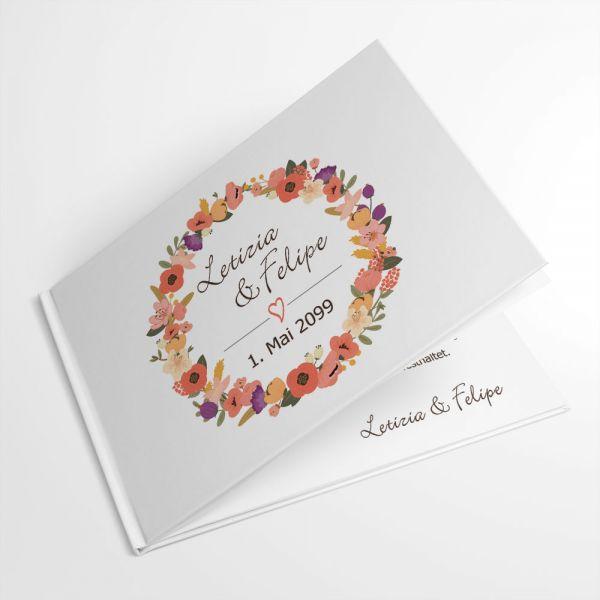 Gästebuch zur Hochzeit Blütenkranz individuell drucken lassen