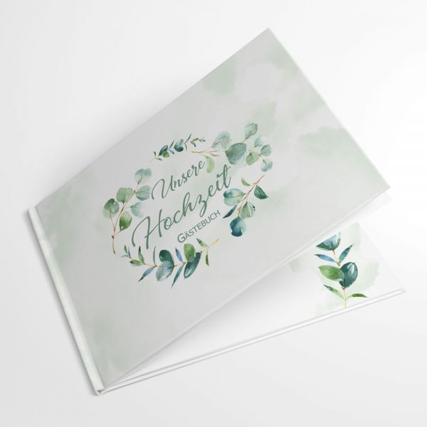 neutrales Gästebuch Hochzeit Eukalyptus greenery