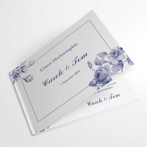 Gästebuch Hochzeit individuell Blumen blau indianblue