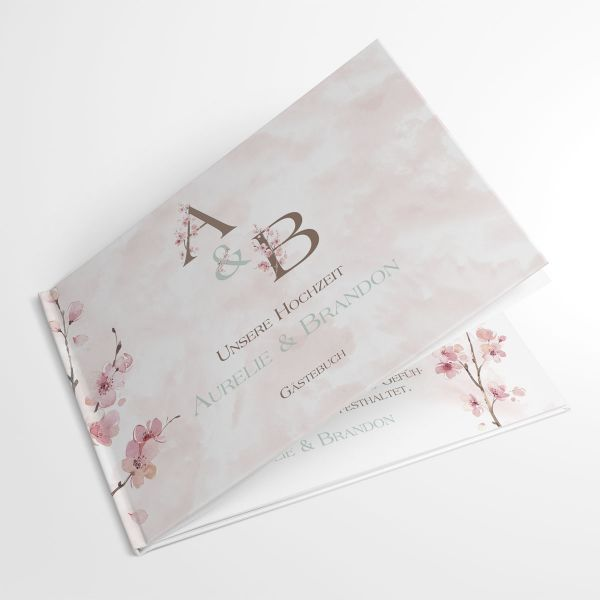 Personalisiertes Gästebuch Hochzeit Kirschblüte rosé kaufen