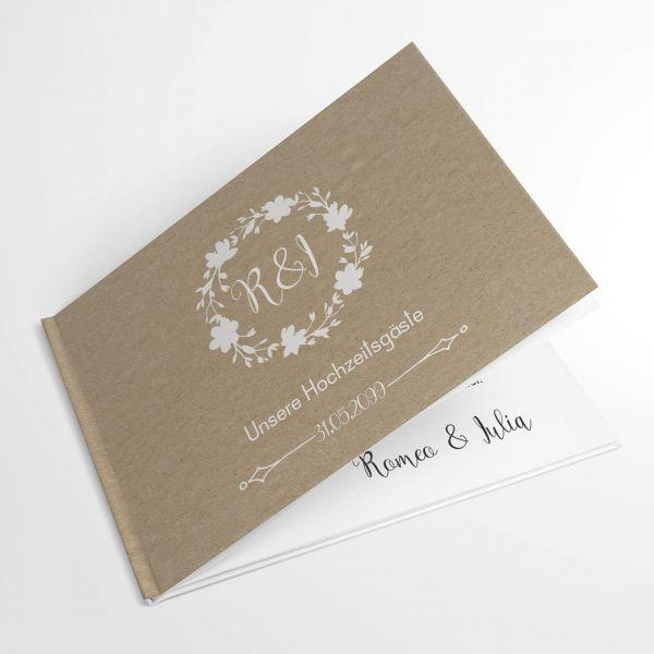 individuelle Gästebücher Hochzeit Hardcover Kraftpapieroptik A4 vitage
