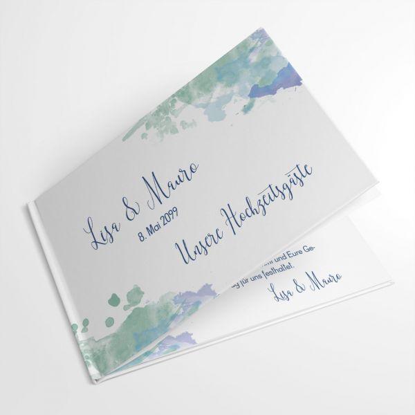 Gästebuch Hochzeit personalisiert watercolor blau grün türkis
