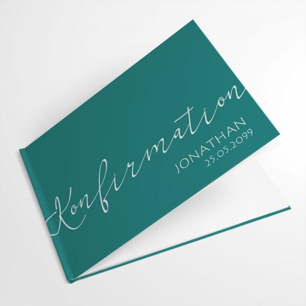 elegantes Gästebuch zur Kommunion Konfirmation drucken lassen Wunschfarbe