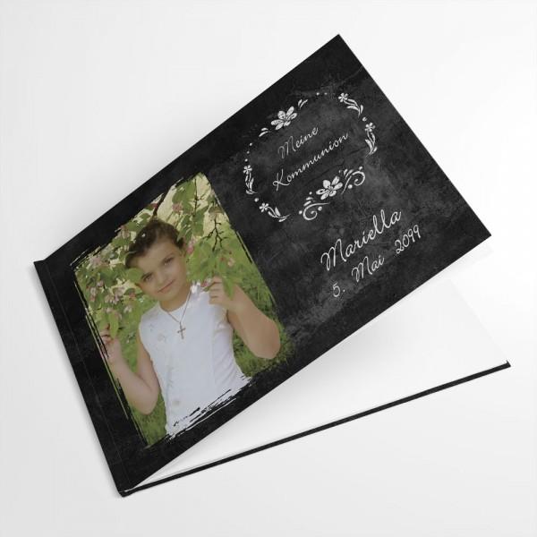personalisiertes Gästebuch Konfirmation Erstkommunion mit Foto Chalkboard Schiefer