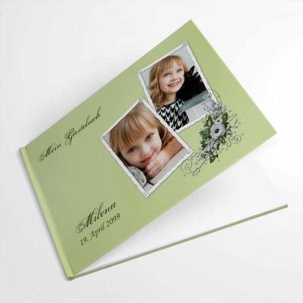 personalisiertes Gästebuch mit floralem Design und Foto drucken lassen