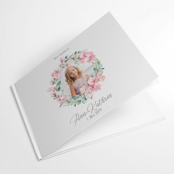 individuelles Gästebuch Eukalyptus rose mit Foto Kommunion Konfirmation