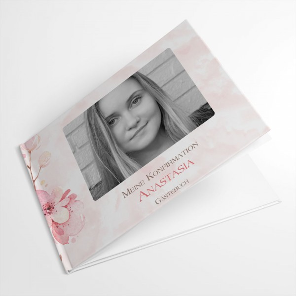 personalisiertes Gästebuch mit Kirschblüten und Foto Kommunion Konfirmation