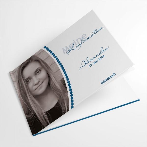 personalisiertes Gästebuch Konfirmation Erstkommunion mit Foto und Punkten