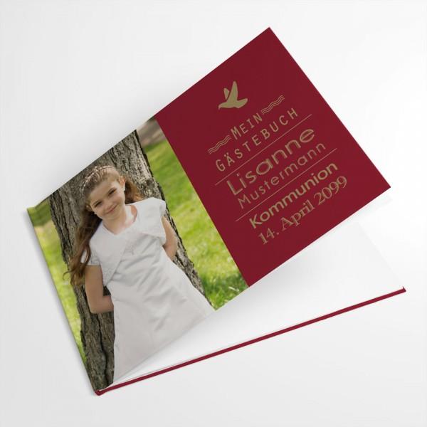 individuelles Gästebuch zur Konfirmation oder Erstkommunion mit Taube bestellen