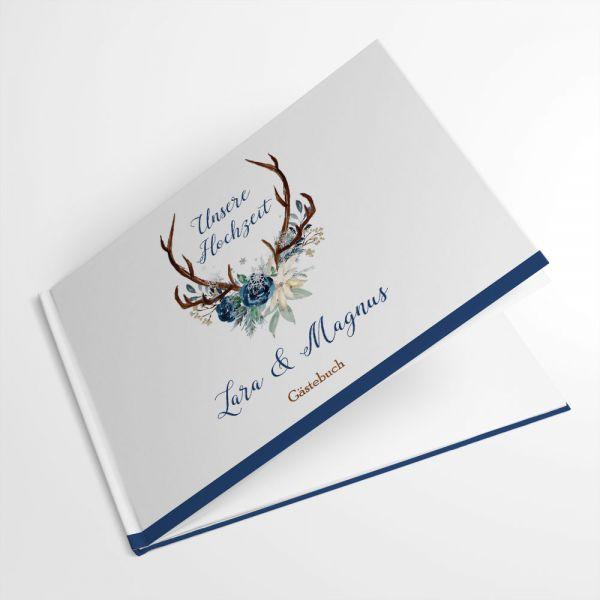 Gästebuch für die Winterhochzeit mit Hirschgeweih individuell drucken lassen
