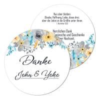runde Geschenkanhänger Hochzeit individuell bedruckt
