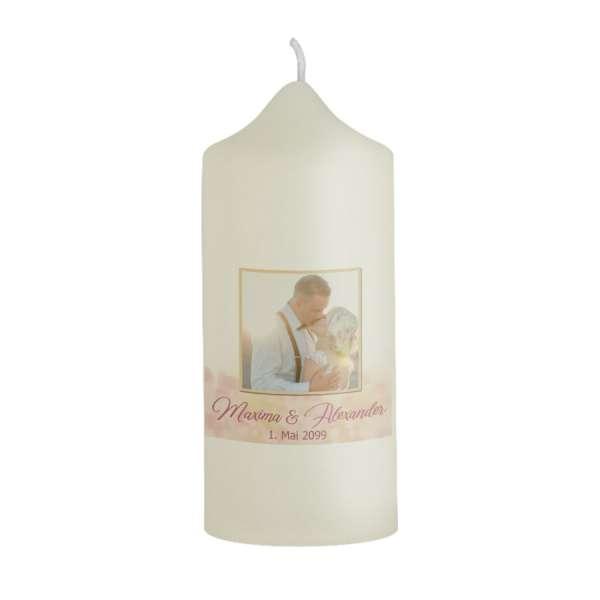 Gastgeschenk-Kerze Rosegold Bokeh zur Hochzeit kaufen