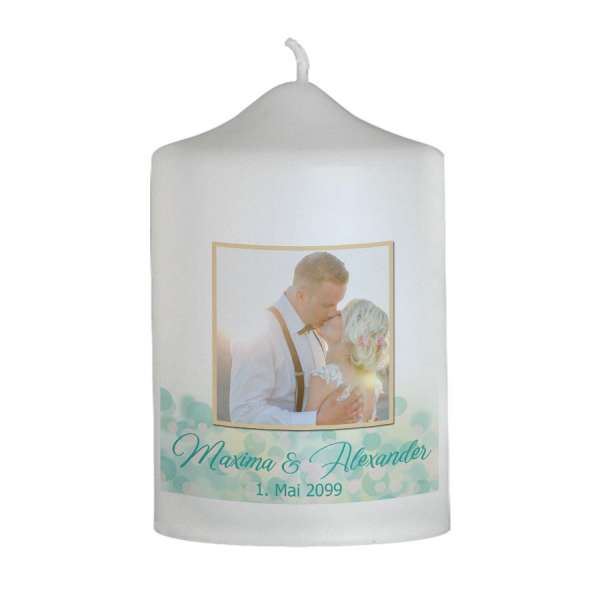 Gastgeschenk-Kerze zur Hochzeit Smaragdgold Bokeh-Effekt