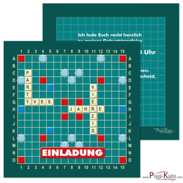 Einladung Geburtstag Scrabble