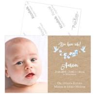 Geburtsanzeigen in Kraftkartonoptik für Jungen Anna/Aaron