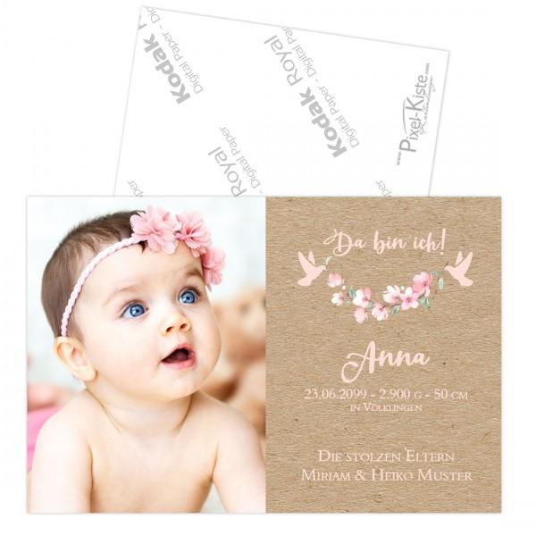 Geburtsanzeigen für Mädchen mit Blüten in rosa Anna/Aaron