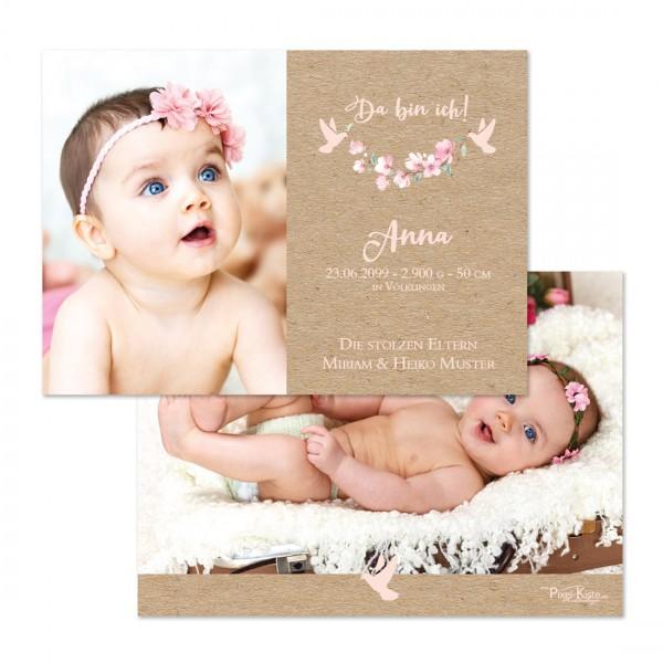 Geburtsanzeigen mit Blüten in rosa für Mädchen Anna/Aaron