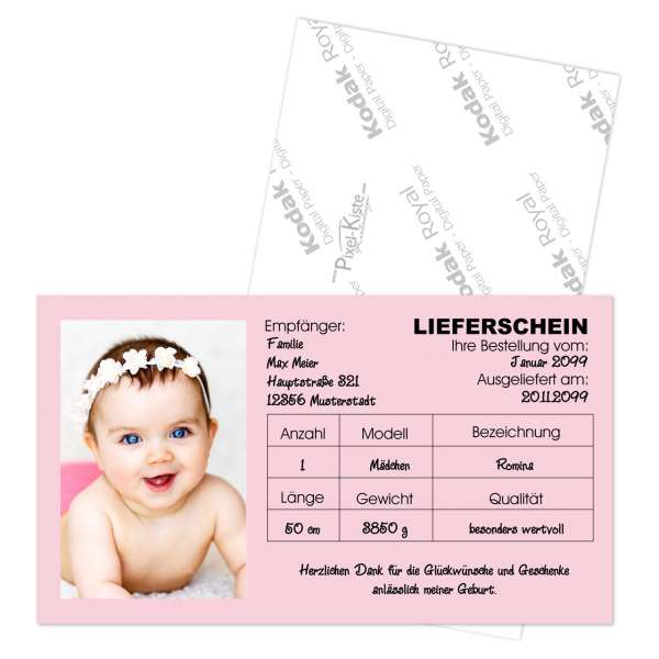 """Babykarten """"Lieferschein"""""""