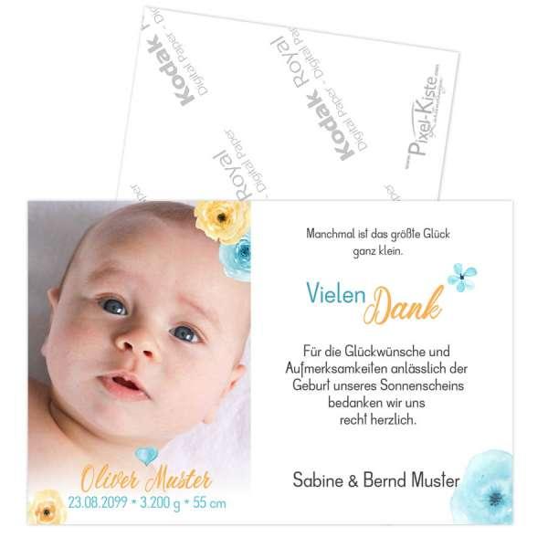 Geburtsdanksagungen Danksagung Taufe Watercolor
