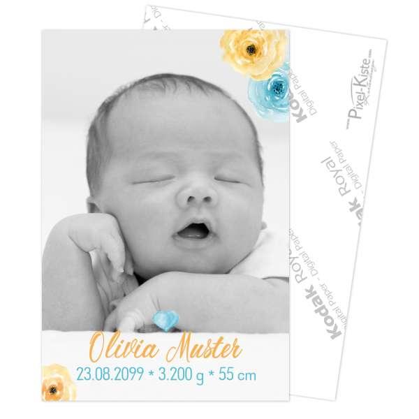 Geburtskarten mit Aquarell-Blüten