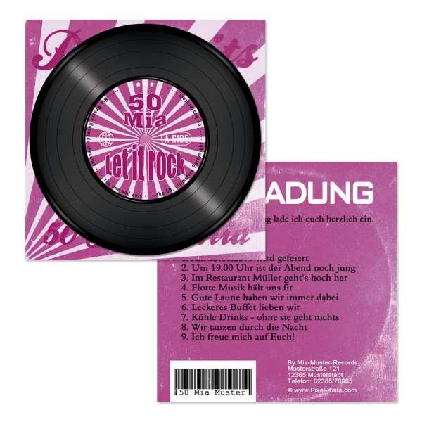 Geburtstag Einladungskarten Schallplatten-Cover