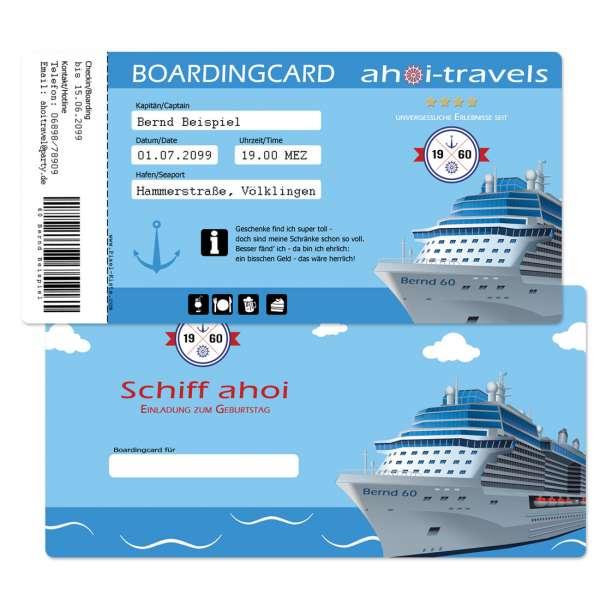 "Geburtstagseinladung ""Boardingcard"" Kreuzfahrt"