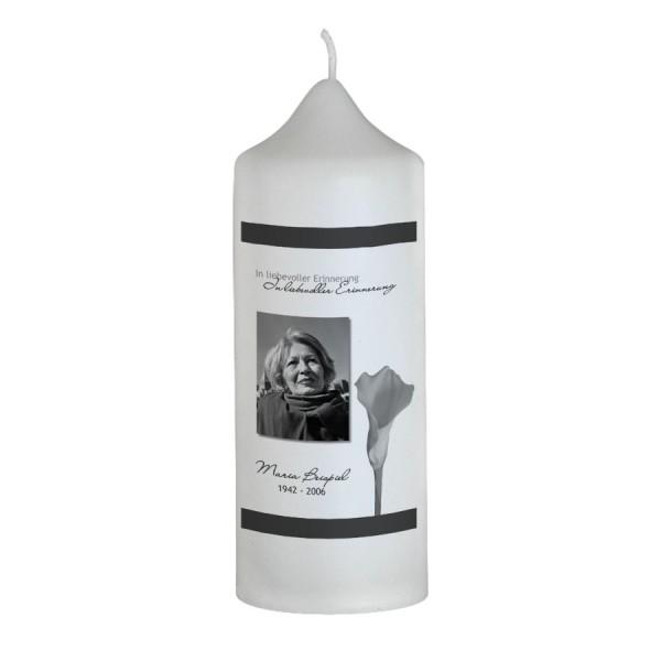 """Persönliche Gedenkkerze mit Foto """"Calla"""""""
