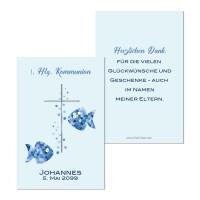 Geschenkanhänger Kommunion Konfirmation für Gastgeschenke Fisch blau