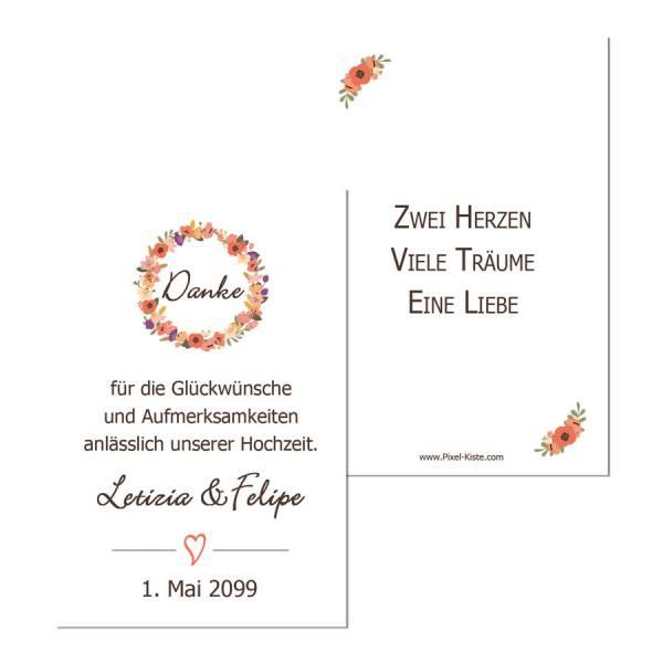 """Geschenkanhänger Gastgeschenk Hochzeit Blütenkranz """"Letizia & Felipe"""""""