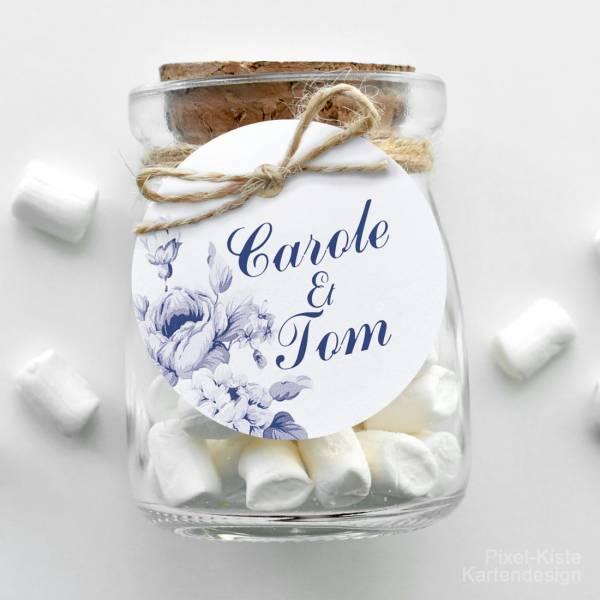 Anhänger für Einladungen Gastgeschenke Giveaway Hochzeit Indian blue