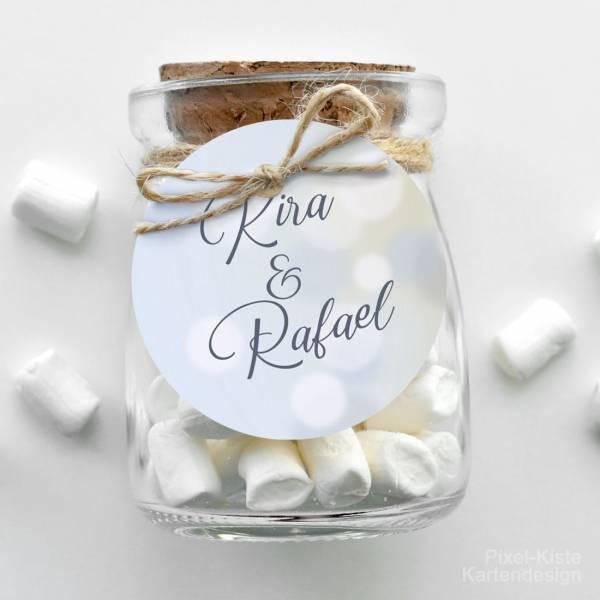 runde Anhänger Gastgeschenk Giveaway Hochzeitseinladung Lightblue