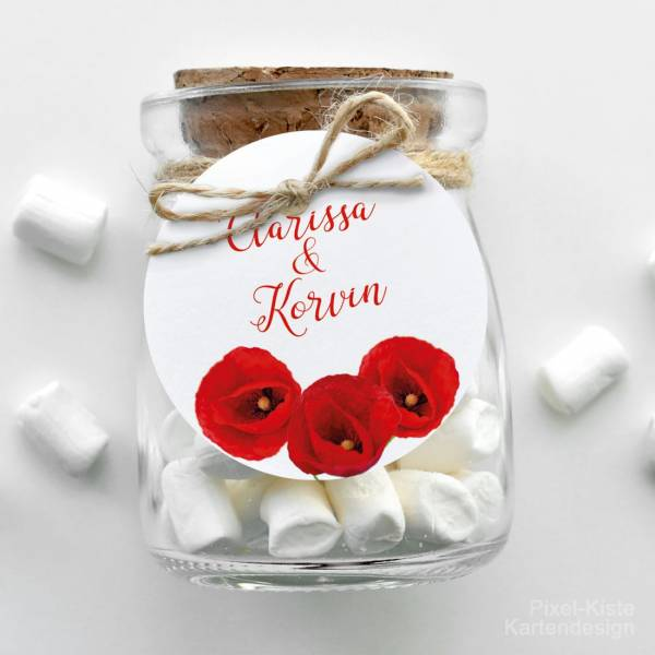 Geschenkanhänger Gastgeschenk Giveaway  Einladung Hochzeit Mohnblume